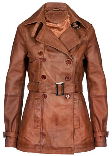 (Ladies Leather Trench Coat Tan Mid Length Coat Classic Jacket XL)
