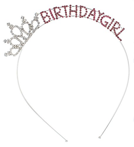 Birthday Girl Tiara (Crystal Ave Women's Birthday Pink Crystal Tiara Headband (Birthday Girl))