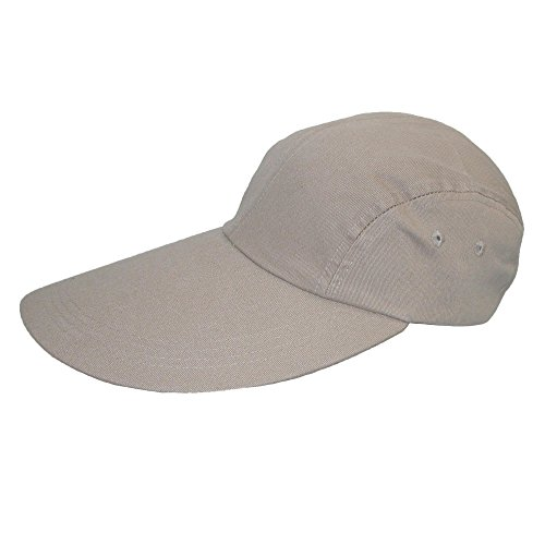 - CTM® Long Bill Baseball Cap with Extended 5 Inch Visor color Khaki  one size