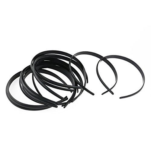 Tinksky 12pcs Womens Girls Plain No Teeth Plastic DIY Hair Bands Headbands Headwears (Black) ()