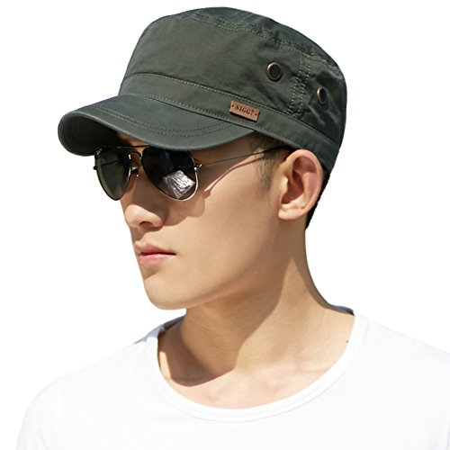 Unisex Mens Cotton Army Caps Military Hats Baseball Sun Hat Trucker Cadet Combat Cap for Men 56-60CM Green ()
