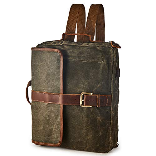BRASS TACKS Leathercraft Men's Waxed Canvas Genuine Leather Utility Duffel Weekend Work Briefcase 15'Laptop Messenger Bag Backpack 4-in-1 Convertible Bag