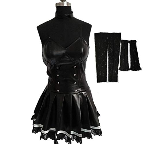 Poetic Walk Death Note Misa Amane Imitation Leather Lace Dress Cosplay Costume Uniform (Small, Black) (Death Note Cosplay Costumes)