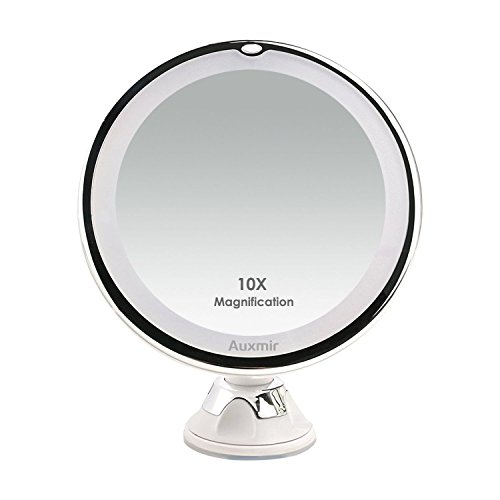 Cat Eye Double Wireless Manual - Auxmir 10X Magnifying LED Lighted Makeup Mirror, Vanity Mirror with 14 Natural White LED, Suction Base & 360° Rotation, Ideal for Bathroom & Travel, Batteries Included, Round, 5.12