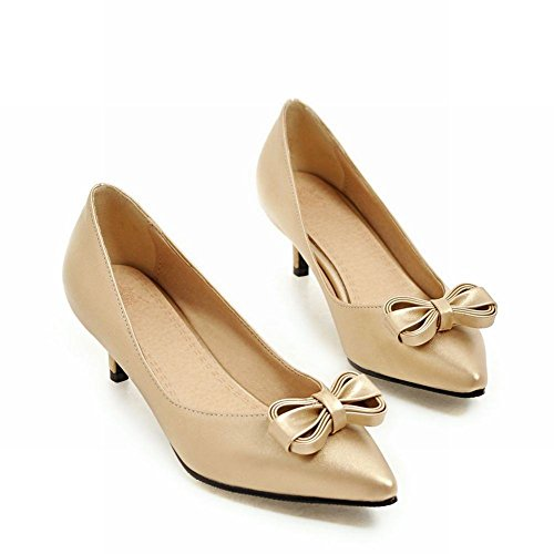 Charm Foot Womens Comfort Bows Pointed Toe Low Heel Pump Shoes Gold RNyW8dgO