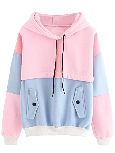SweatyRocks Womens Long Sleeve Colorblock Pullover Fleece Hoodie Sweatshirt Tops Blue Pink XL