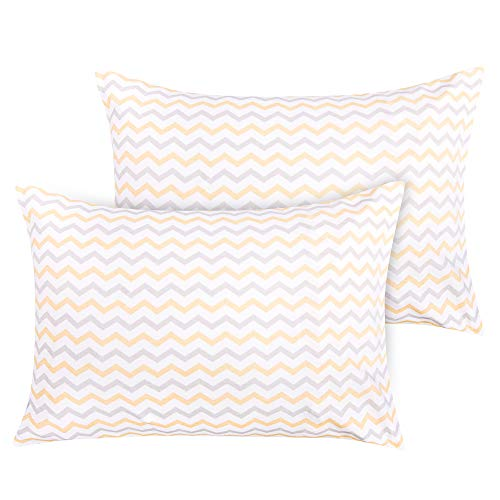 NTBAY 100% Natural Cotton Jersey Knit Toddler Pillowcases Set of 2, Soft and Breathable, Travel Pillowcase Cover with Envelope Closure, for Boys and Girls, 13