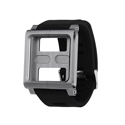 Hunputa Aluminum Silicone Mix Case Multi-Touch Watch Band For iPod Nano 6/6th (Gray)