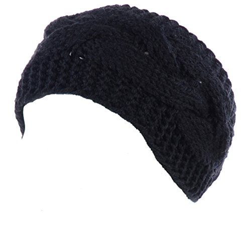 Knit Button Band - BYOS Womens Fashion Winter Cable Crochet Knit Headband With Adjustable Button (Black)