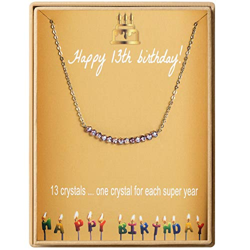 - 13th Birthday Gifts Necklace for Girls S925 Sterling Silver 13 Crystal Beads for 13 year old Girl Jewelry Gift for Her Bat Mitzvah Gift, New Teen