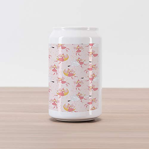Ambesonne Princess Cola Can Shape Piggy Bank, Pattern with Flying Fairies Setting on Moon Riding Swan Stick, Ceramic Cola Shaped Coin Box Money Bank for Cash Saving, Rose Earth Yellow Pink
