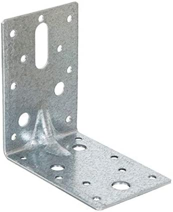 for Use of Nails, Screws, Bolts and Coach Screws 90mm x 90mm x 60mm Galvanised Steel Angle Bracket 90 Degrees Reinforced Elbow 10 2.5mm Thick