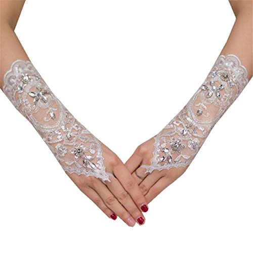 Fingerless Rhinestone Sequins Wedding Gloves with Lace Evening Party Prom Glove Brides Women Ivory