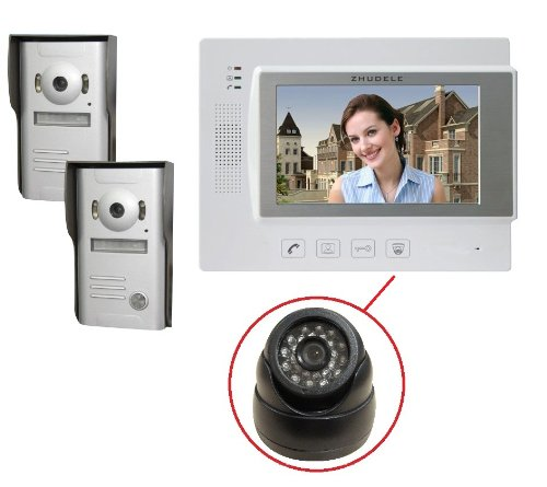 ZHUDELE 7 Inch LCD Video Door Phone Doorbell Intercom Kit W/Surveillance Camera Port 1 Monitor 2 Camera