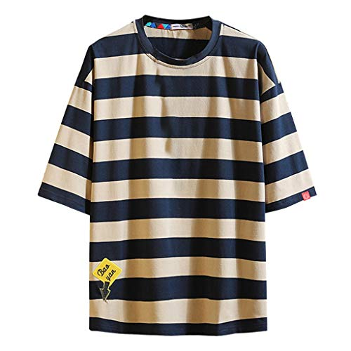LEKODE Men T-Shirt Casual Fashion Loose Stripe Tee O-Neck Short Sleeve Tops(Coffee,5XL) - Navy Seal Embroidered Sweatshirt