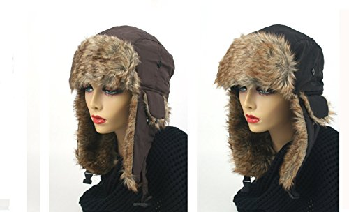 Pop Fashionwear Women's Trapper Winter Ear Flap Hat P136 (2 Pcs Brown & Black)