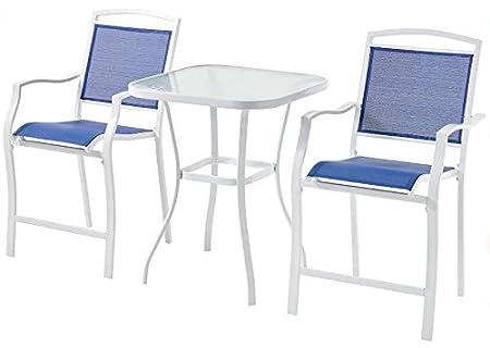Mainstays Sand Dune 3-Piece Outdoor High Bistro Set Blue Seats 2