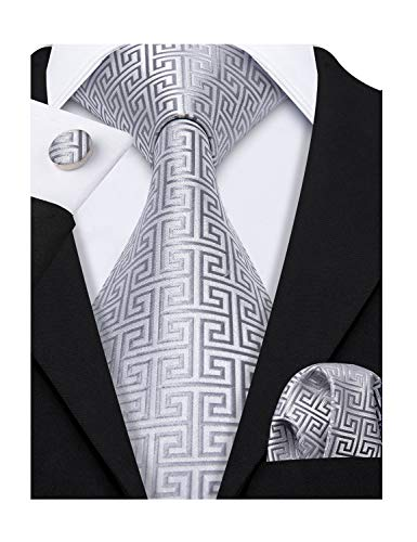 Barry.Wang Retro Silver Geometric Pattern Tie Set