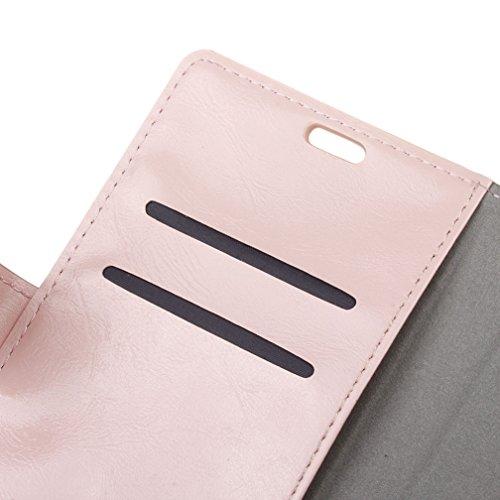 Lusee® PU Caso de cuero sintético Funda para Wiko Kenny 5.0 Pulgada Cubierta con funda de silicona botón caballo Loco patrón negro caballo Loco patrón Rosa