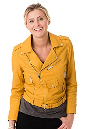 SKINOUTFIT Womens Leather Jackets Motorcycle Bomber Biker Genuine Lambskin 15 XS Yellow