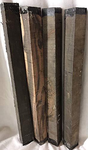 4 Gabon Ebony Hardwood 1x1x12 Woodworking Magic Wands Drum Sticks