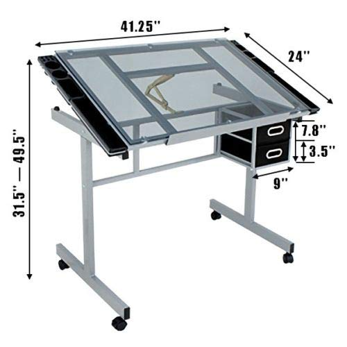 lunanice Drafting Table Craft Station w/Glass Top & Adjustable Spa Salon Stool Chair by lunanice (Image #5)