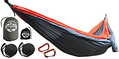 The Outdoors Way Camping Hammock with Tree Straps | Single or Double Hammock | Durable Lightweight Portable | Ideal for Travel or Backpacking