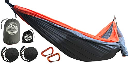 The Outdoors Way Camping Hammock and Tree Straps -Single Or Double Hammock That Is Durable Lightweight And Portable. Great For Travel and Backpacking