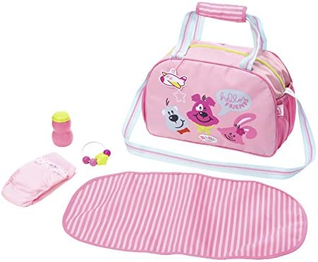 Zapf Baby Born Changing Bag Bolsa de pañales para muñecas - Accesorios para muñecas (Bolsa de pañales para muñecas, 3 año(s), Azul, Rosa, 43 cm, Chica, 43 cm)