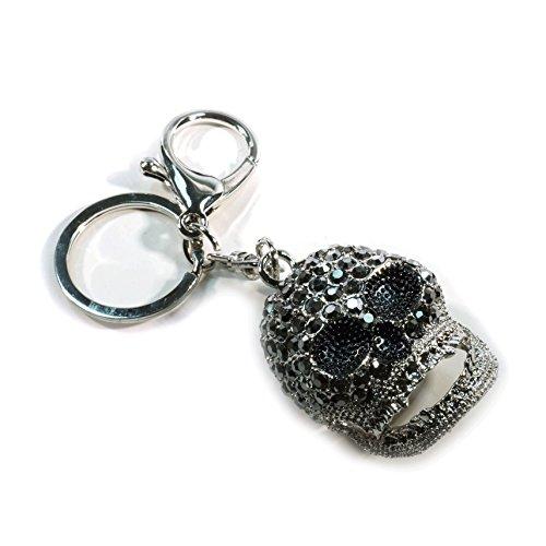 Teri's Boutique Trendy Fashion Skull Pave Rhinestone Dangle Charm Purse Keychain (Silver) - Purse Dangle Charm
