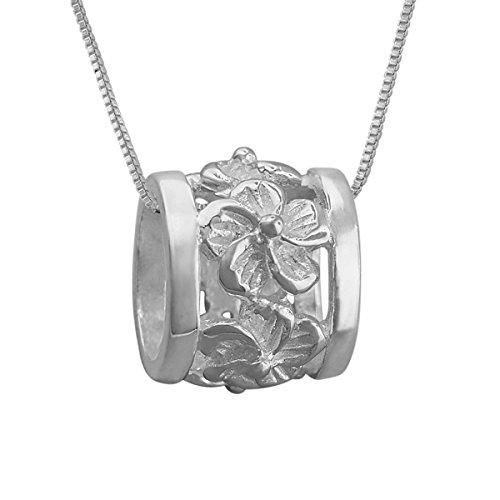 (Sterling Silver Plumeria Bead Barrel Pendant Necklace, 16+2