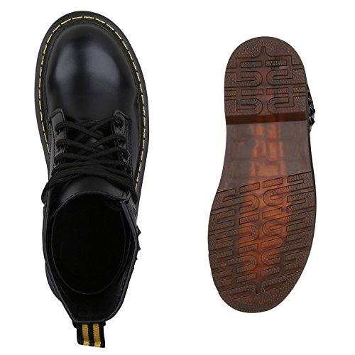 Stiefelparadies Damen Outdoor Worker Boots Prints Warm Gefütterte Stiefeletten Flandell Schwarz Nieten