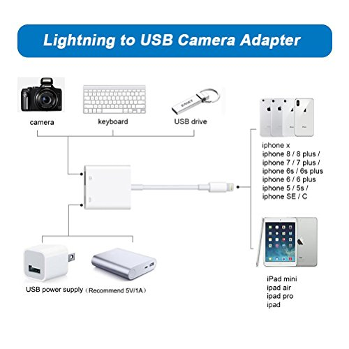 RayCue Lightning to USB Camera Adapter, Lightning to USB Female OTG Cable Adapter, Camera Data Sync and Keyboard Adapter, Upgraded for iPhone X/8/7/6/6s/5s/iPad/iPad pro/Mini/Air, iPod, No App Needed by RayCue (Image #5)