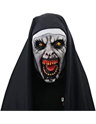 Glumes Halloween Devil Nun Horror Mask, With Wimple Costume for Women Men Valak Scary Masquerade Costumes for The Conjuring 2 (As Show)
