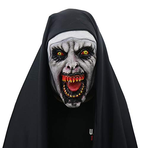 (Glumes Halloween Devil Nun Horror Mask, With Wimple Costume for Women Men Valak Scary Masquerade Costumes for The Conjuring 2 (As)