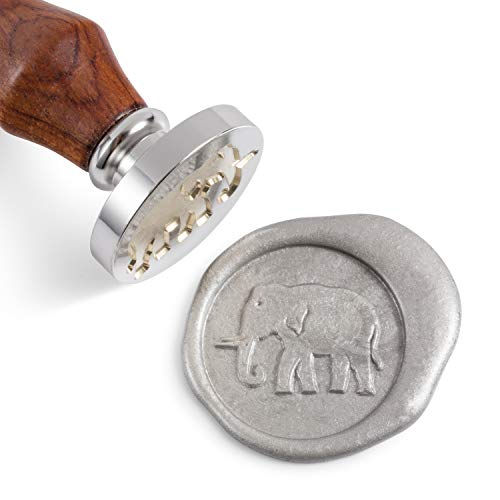 Stamps Elephant - Mceal Wax Seal Stamp,Silver Brass Head with Rosewood Handle, 1.2