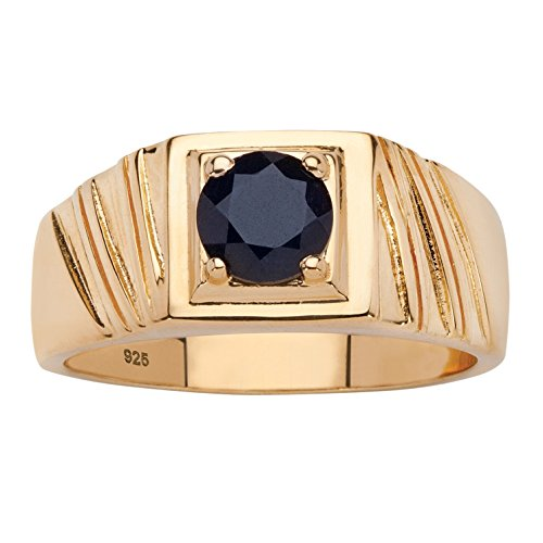 (Men's Round Black Genuine Sapphire 14k Gold over .925 Sterling Silver Classic Ring Size 12)