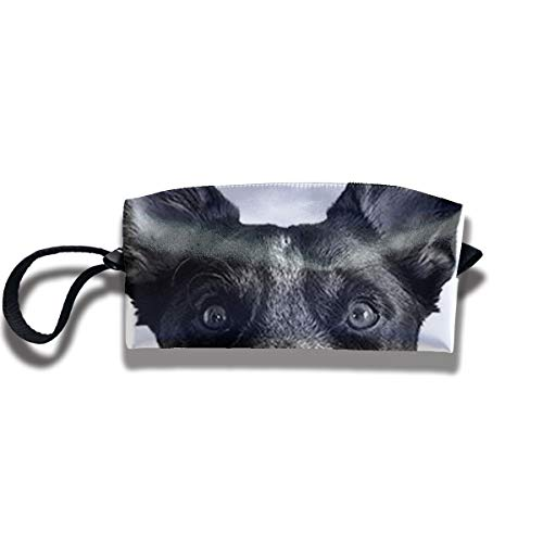 Cosmetic Bags With Zipper Makeup Bag Black Dog Photo Frame Middle Wallet Hangbag Wristlet Holder