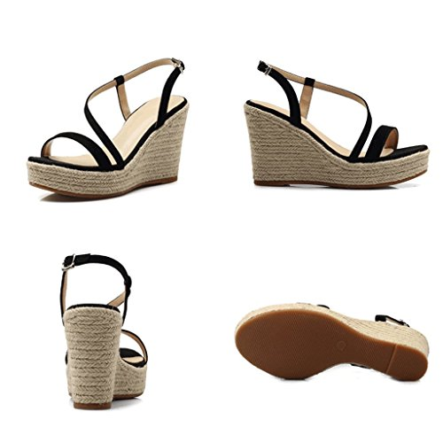 Wedge Retro Open Color Toe Heels Black 37 High black Waterproof 9cm Size Platform Sexy Sandals Thick Black Summer FIp5pq