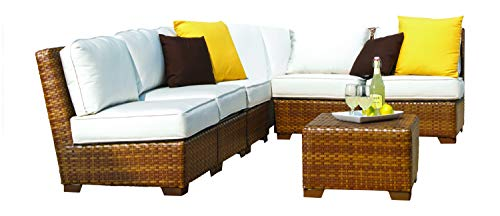 Panama Jack Outdoor 7-Piece St Barths Corner Modular Sectional with Cushions Set, Includes 5 Armless Chairs, 1 Corner Chair and 1 Coffee Table with Umbrella Hole