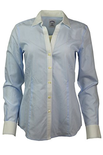 Brooks Brothers Womens Striped Non-Iron Contrast Stitch V-Neck Button Down Shirt Light Blue/White (8) (Brooks Brothers Womens Shirts)