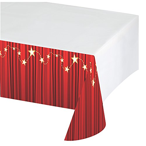 Creative Converting 315201 Hollywood Lights Plastic Table Cover with Border Print, 54