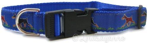 Doberman Dog Breed Dog Collar and Leash Set bluee