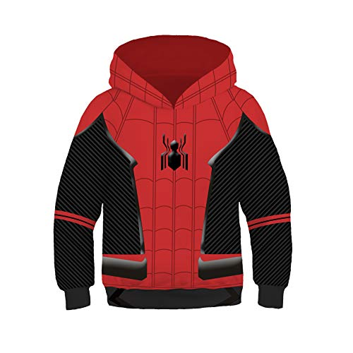 (Gurbanton Kids Spiderman Far from Home Hoodie Costume 3D Printed Sweatshirt for Halloween Holiday Party (A, Kids)