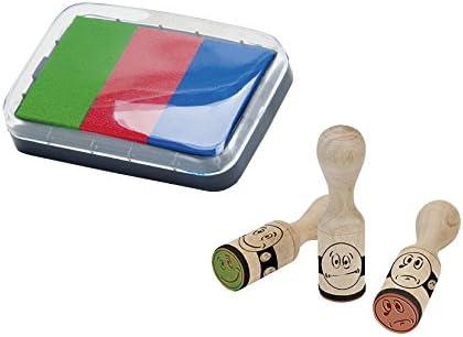 Brunnen 1048692 - Tampones y almohadilla de entintado tricolor (mango de madera, 3 motivos de caras)