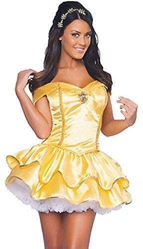Cohaco Women's Princess Costume Yellow Party Dress with Head Dress (Medium) -
