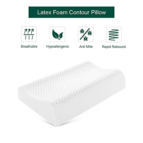 SWEESLEEP 100 Percent Natural Latex Foam Contour Pillow for Neck Pain Standard Size (22.5 x 15 x 3.5/4.5 inches), with Removable Outer Cover - Natural Latex Contour Pillow