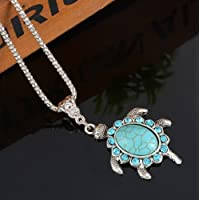 Vintage Retro Turquoise Pendant Boho Turtle Pendant Necklace Women Jewelry Gift