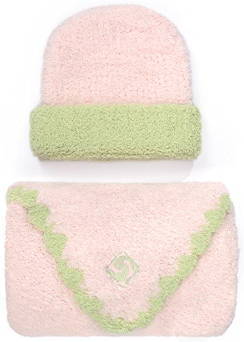 Kashwere Baby Trim Cap/Blanket Set in Pink/Green Size 30
