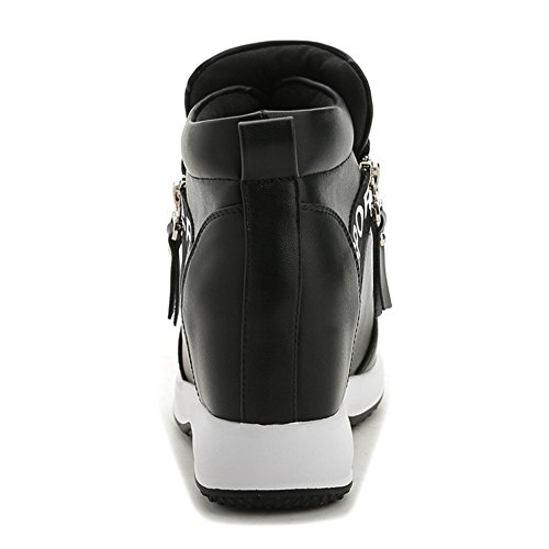 GIY Women Fashion High Top Round Toe Zipper Wedge Sneakers Platform Increased Height Casual Sports Shoes Black ZD5fo9hxK